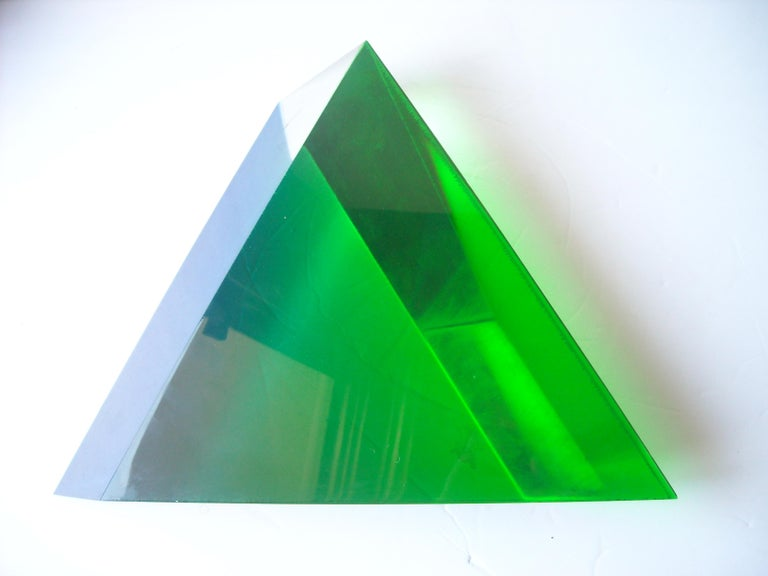 Velizar Mihich, Vasa Acrylic Decorative Triangle, Sculpture, Signed, Date In Excellent Condition For Sale In Los Angeles, CA