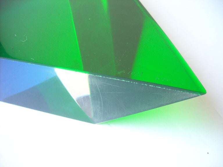 Late 20th Century Velizar Mihich, Vasa Acrylic Decorative Triangle, Sculpture, Signed, Date For Sale