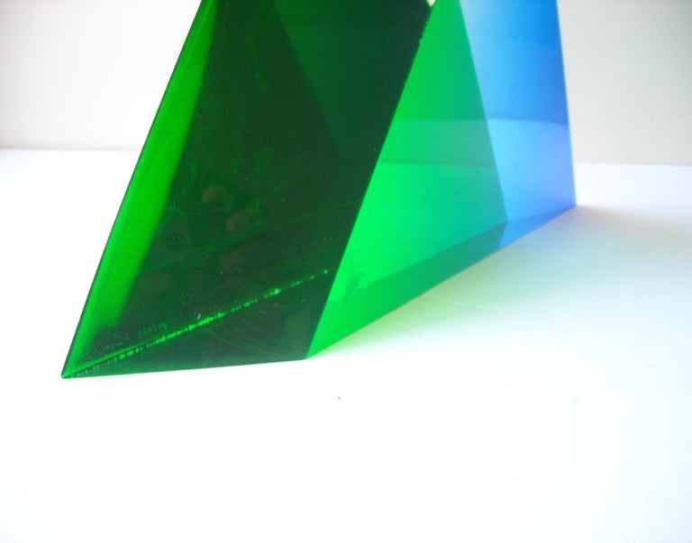 Plastic Velizar Mihich, Vasa Acrylic Decorative Triangle, Sculpture, Signed, Date For Sale