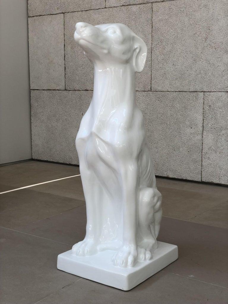 Contemporary Vellum Italy Ceramic Greyhound Sculpture For Sale