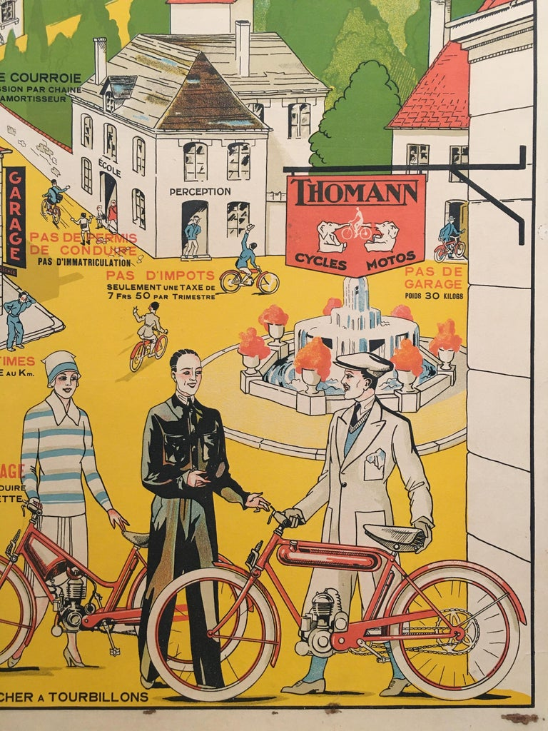 'Velo - Moteur Thomann', mid-20th century original French lithograph poster  Artist: Anonymous  Dimensions: 59 x 40 cm  Condition: Good  Format:  Linen backed.
