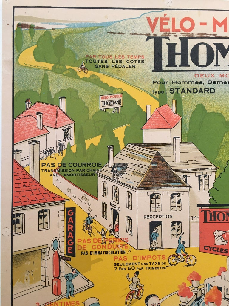 'Velo - Moteur Thomann', Mid-20th Century Original French Lithograph Poster In Good Condition For Sale In Melbourne, Victoria