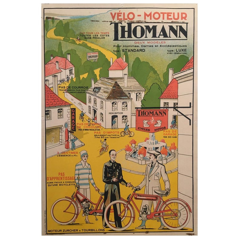 'Velo - Moteur Thomann', Mid-20th Century Original French Lithograph Poster For Sale
