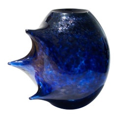 Unique Veloce Contemporary Hand Blown Murano Glass Blue Vase by Ermes Glass