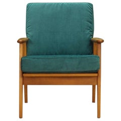 Velour Green Armchair Retro Danish Design 1970s Vintage
