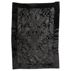 Velour Throw in Black with Black and Copper Satin Appliqué by Zuber
