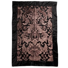 Velour Throw in Black with Copper Satin Appliqué by Zuber