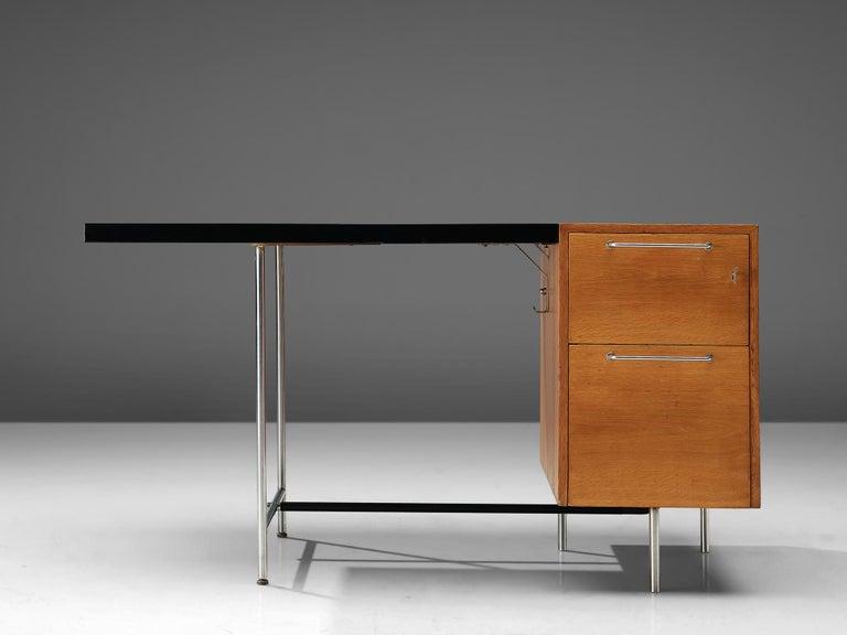 Mid-Century Modern Velox Desk in Oak and Chrome For Sale