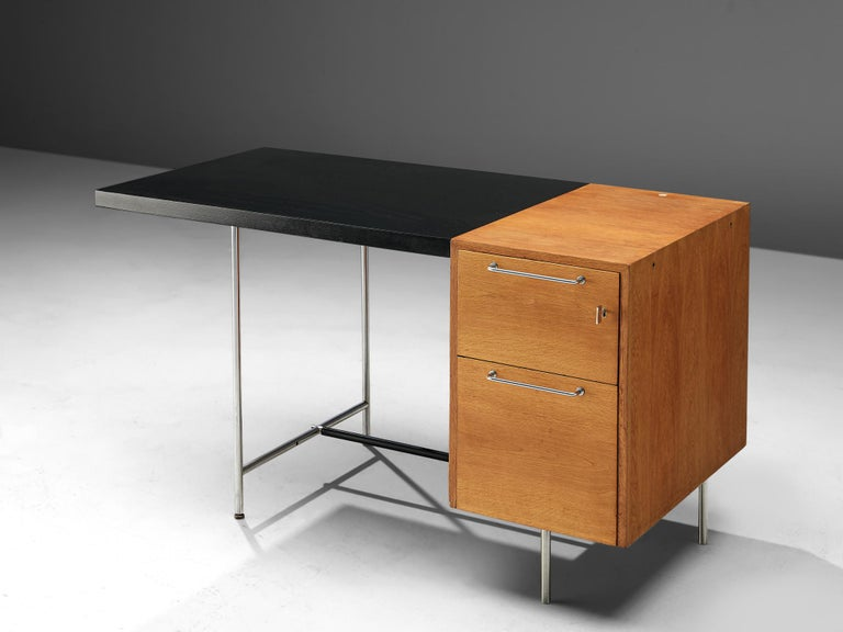 Polish Velox Desk in Oak and Chrome For Sale
