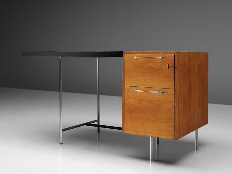 Mid-20th Century Velox Desk in Oak and Chrome For Sale