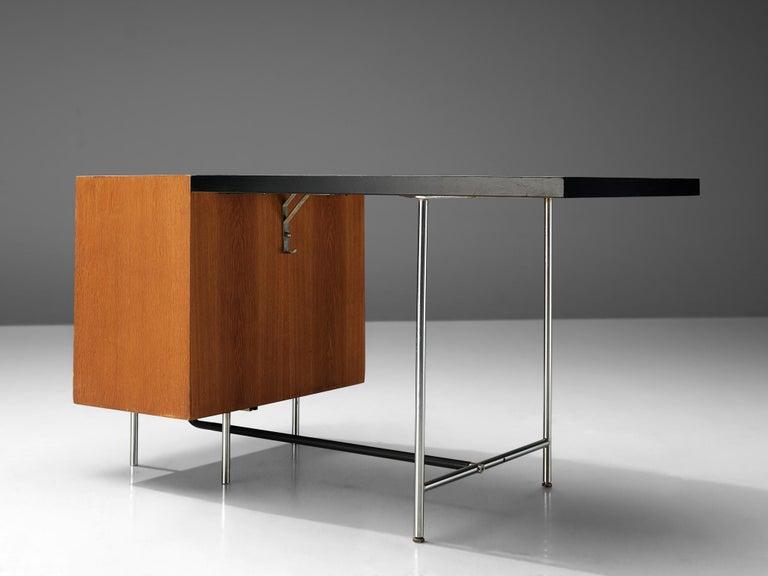Velox Desk in Oak and Chrome For Sale 1