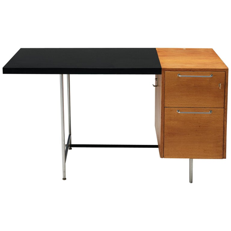 Velox Desk in Oak and Chrome For Sale