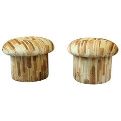 Velvet 1960s Mushroom Shaped Round Stools Colored Italian Design Original Fabric