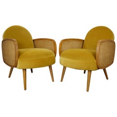 Velvet and Oak Wooden Pair of Easy Armchairs