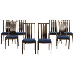 Velvet and Walnut Dining Chairs, 1960s, Danish Design