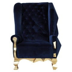 Velvet Blue Armchair by Royal Stranger