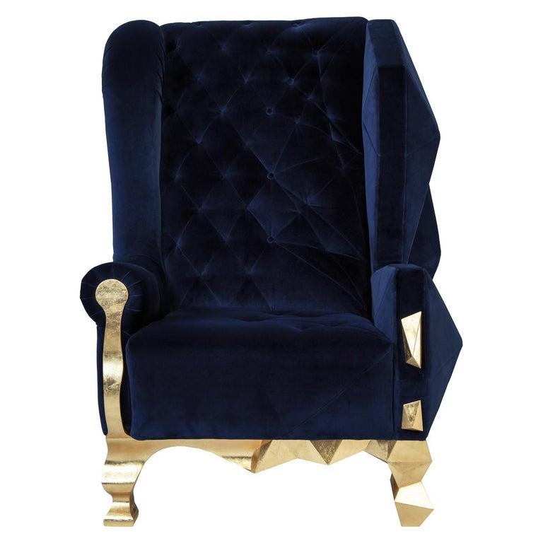 Velvet Blue Armchair By Royal Stranger For Sale At 1stdibs