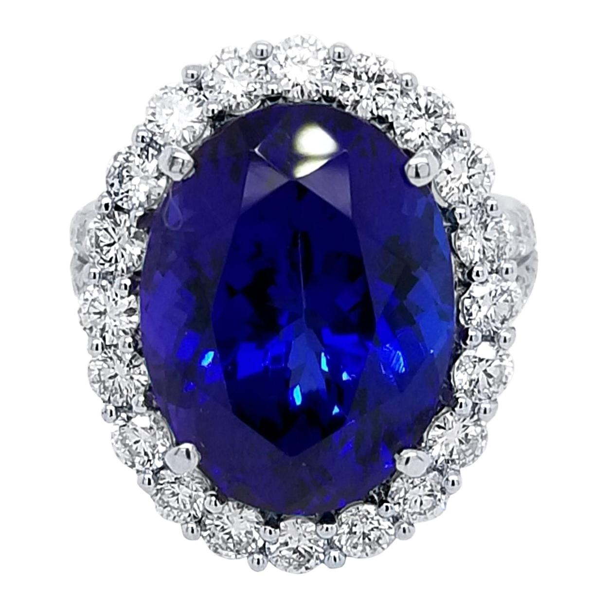 12.6Ct Velvet Blue Oval Tanzanite Split Shank Pave Set Engagement Ring with Halo