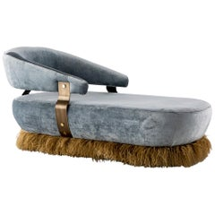 Velvet, Bronzed Steel, Brass and Ostrich Feather, Ostrich Fluff Daybed