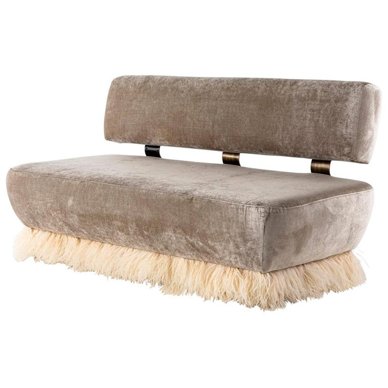 Velvet, Bronzed Steel, Brass and Ostrich Feather, Ostrich Fluff Sofa For Sale