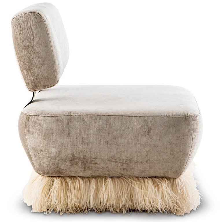 Modern Velvet, Bronzed Steel, Brass & Ostrich Feather, Ostrich Fluff Lounge Chair