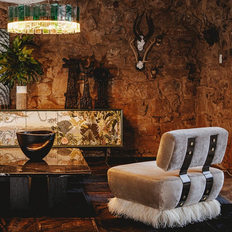 South African Velvet, Bronzed Steel, Brass & Ostrich Feather, Ostrich Fluff Lounge Chair