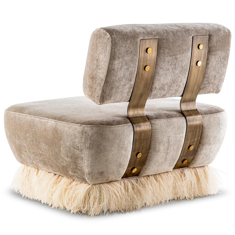Velvet, Bronzed steel, Brass & Ostrich Feather - Ostrich Fluff Lounge Chair  In New Condition For Sale In Bothas Hill, KZN