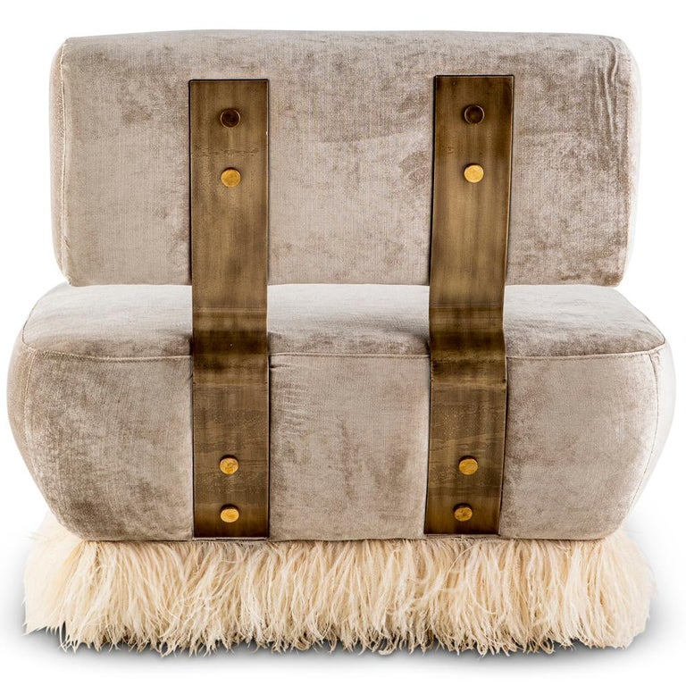 Contemporary Velvet, Bronzed steel, Brass & Ostrich Feather - Ostrich Fluff Lounge Chair  For Sale