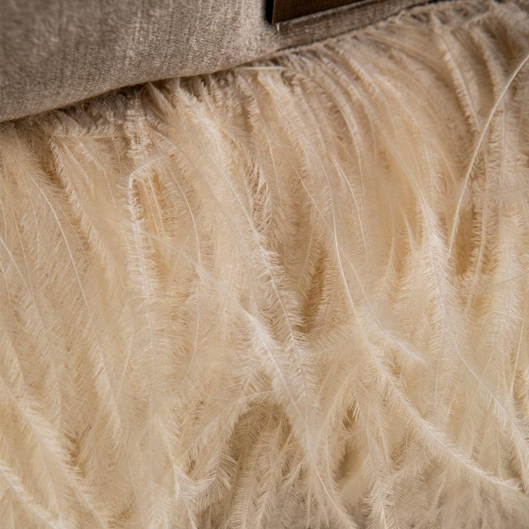 Feathers Velvet, Bronzed Steel, Brass & Ostrich Feather, Ostrich Fluff Lounge Chair