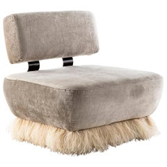 Velvet, Bronzed steel, Brass & Ostrich Feather - Ostrich Fluff Lounge Chair