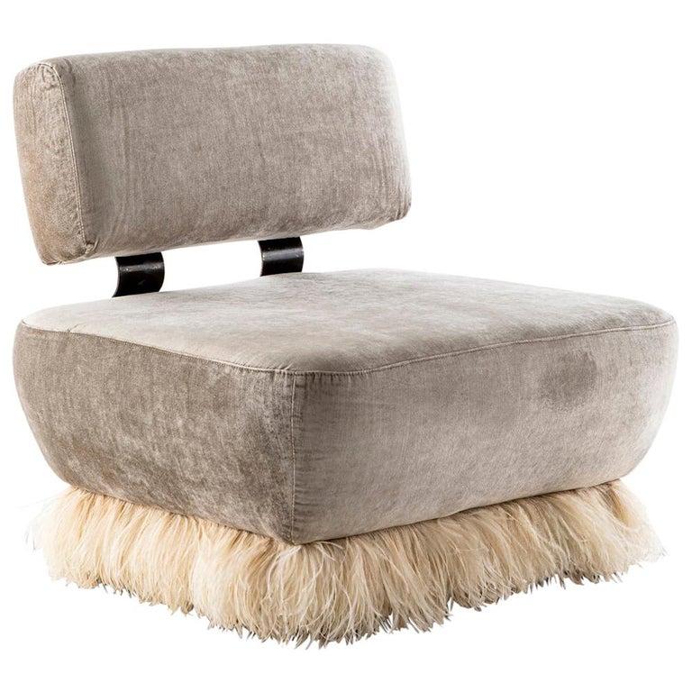 Velvet, Bronzed steel, Brass & Ostrich Feather - Ostrich Fluff Lounge Chair  For Sale