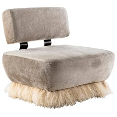 Velvet, Bronzed Steel, Brass & Ostrich Feather, Ostrich Fluff Lounge Chair