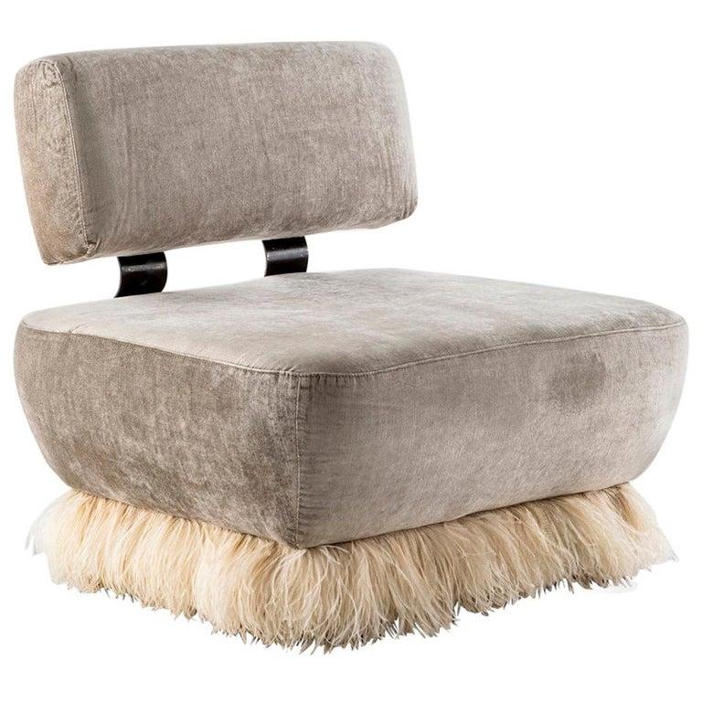 Velvet, Bronzed Steel, Brass & Ostrich Feather, Ostrich Fluff Lounge Chair