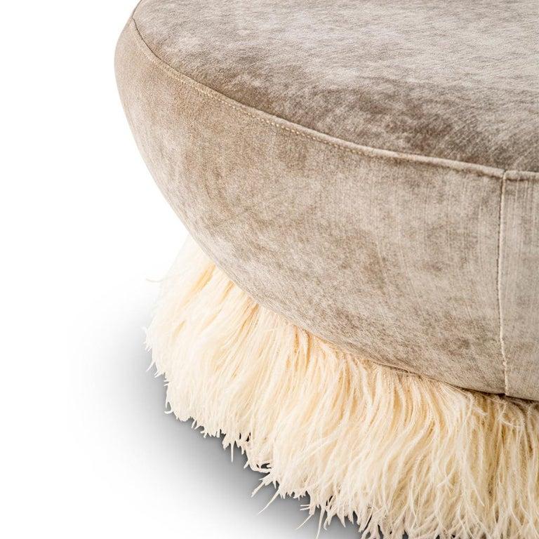Modern Velvet, Bronzed Steel, Brass & Ostrich Feather - Ostrich Fluff Ottoman For Sale