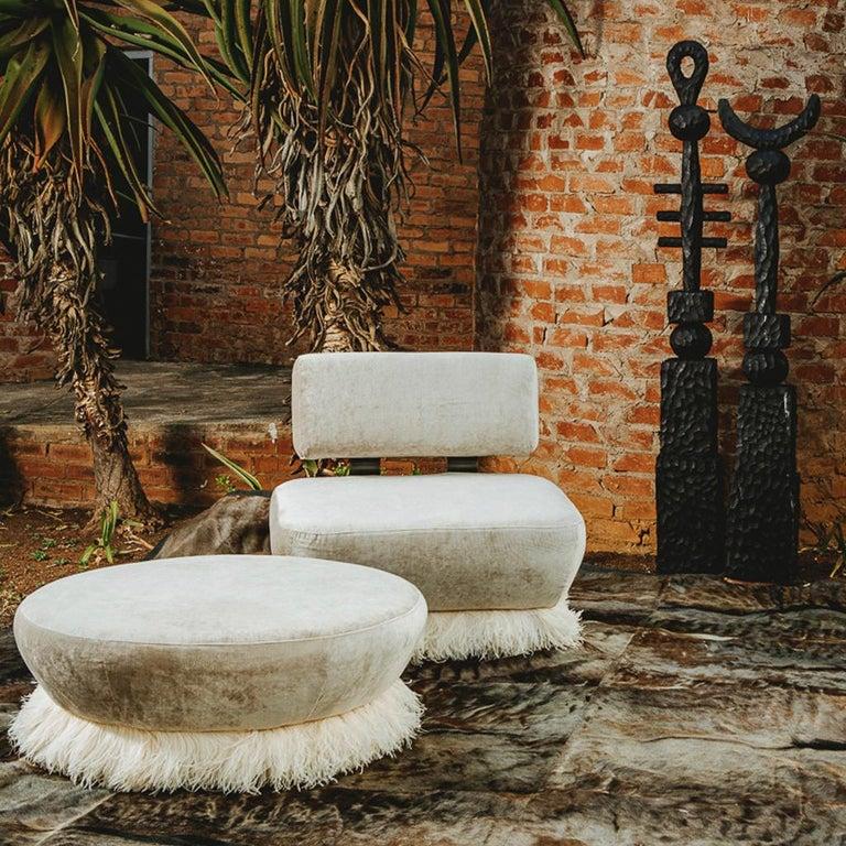Velvet, Bronzed Steel, Brass & Ostrich Feather - Ostrich Fluff Ottoman In New Condition For Sale In Bothas Hill, KZN