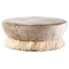 Velvet, Bronzed Steel, Brass & Ostrich Feather - Ostrich Fluff Ottoman