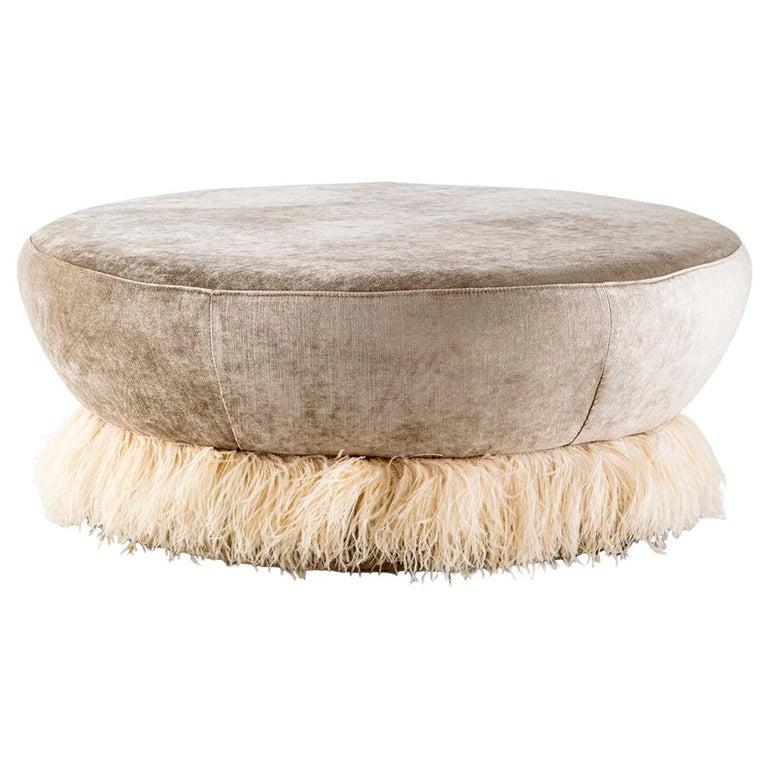 Velvet, Bronzed Steel, Brass & Ostrich Feather - Ostrich Fluff Ottoman For Sale