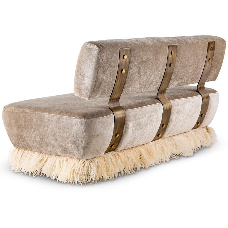 Modern Velvet, Bronzed Steel, Brass and Ostrich Feather, Ostrich Fluff Sofa For Sale