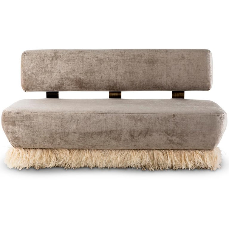 South African Velvet, Bronzed Steel, Brass and Ostrich Feather, Ostrich Fluff Sofa For Sale
