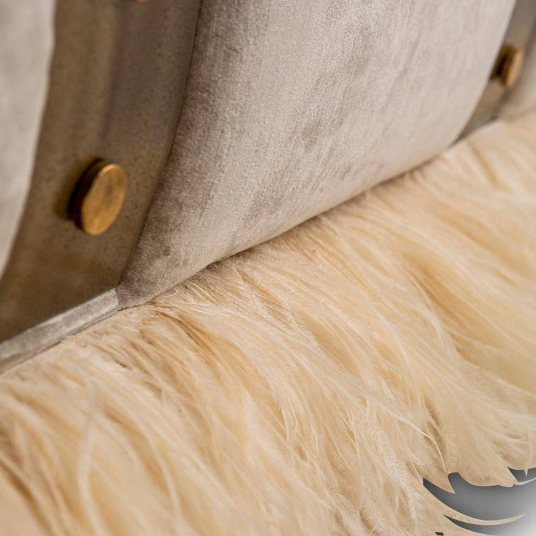 Contemporary Velvet, Bronzed Steel, Brass and Ostrich Feather, Ostrich Fluff Sofa For Sale