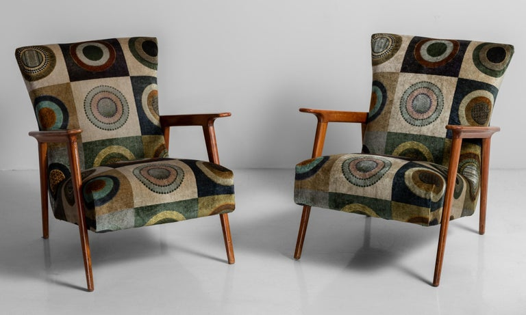 Velvet circle armchairs, Italy, circa 1960.  Newly reupholstered with wooden frame.