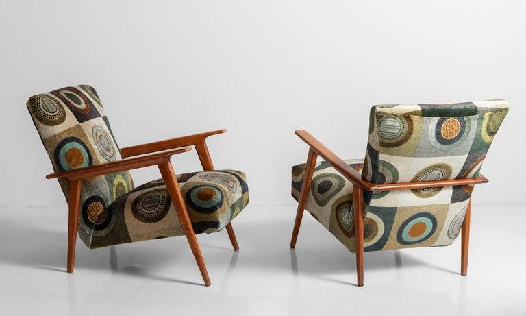 Italian Velvet Circle Armchairs, Italy, circa 1960 For Sale