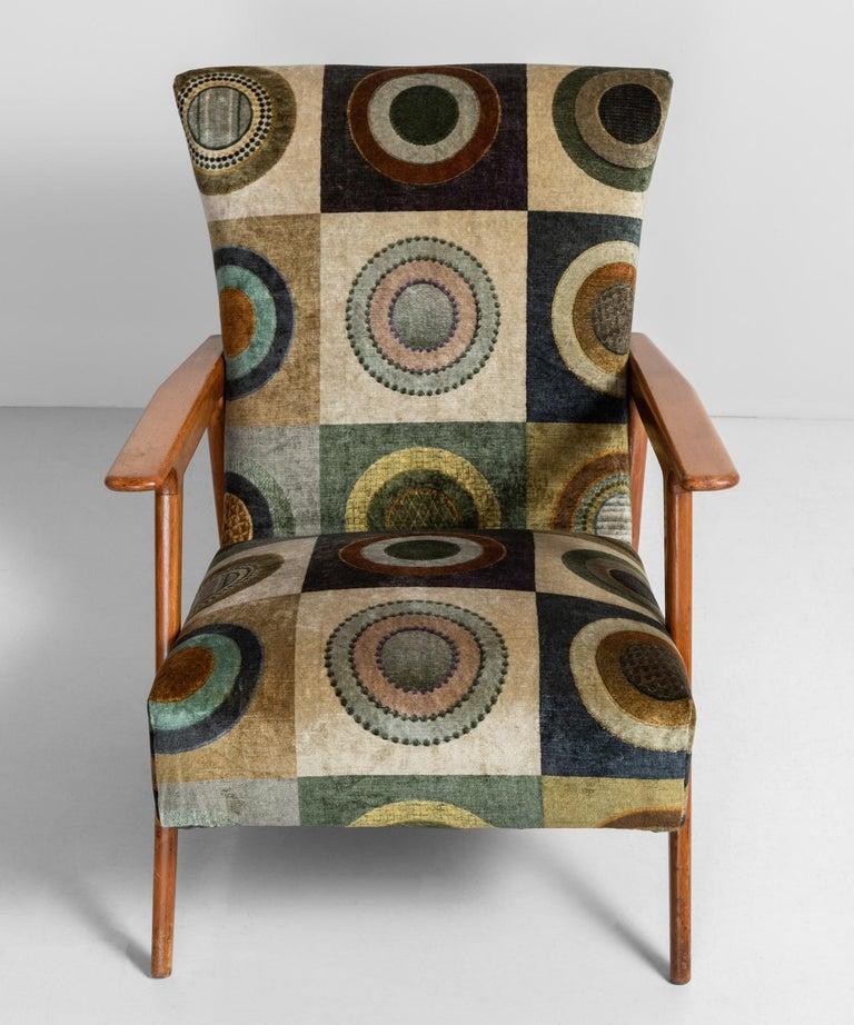Mid-20th Century Velvet Circle Armchairs, Italy, circa 1960 For Sale