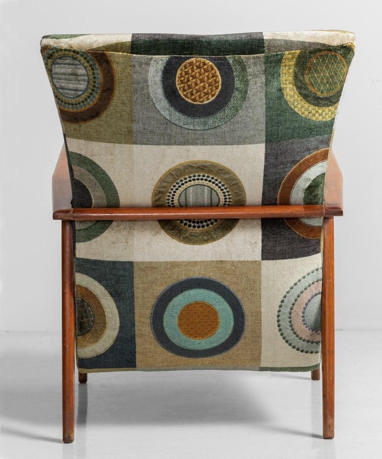 Velvet Circle Armchairs, Italy, circa 1960 For Sale 1