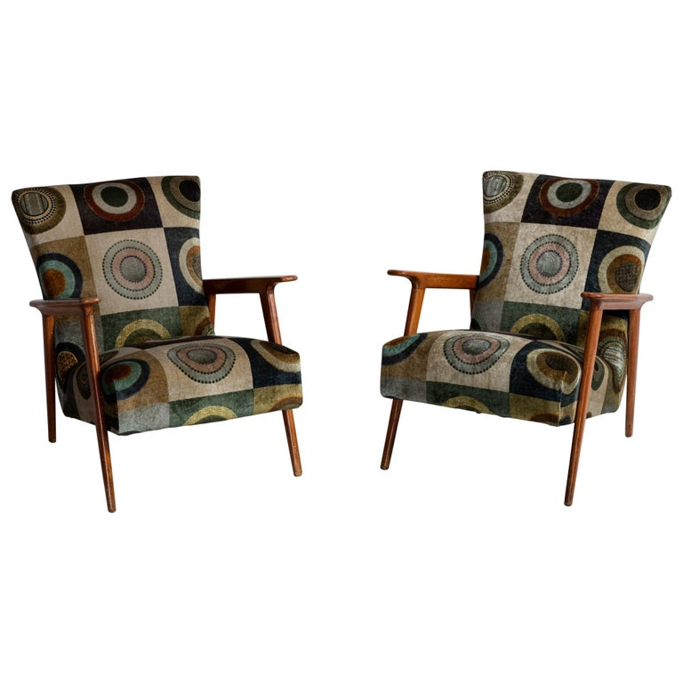 Velvet Circle Armchairs, Italy, circa 1960 For Sale
