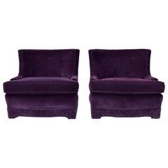 Velvet Club Chairs in the Manner of Brabbu