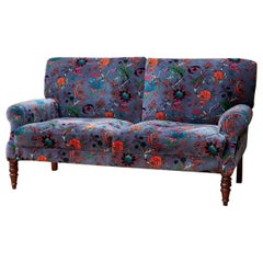Velvet Country Club Style Two-Seat Sofa, 20th Century