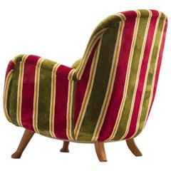 Berga Mobler Easy Chair in Velvet and Oak, 1940s