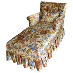 Velvet Floral Button Tufted Chaise Longue with Pleated Skirt