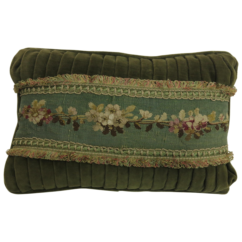 Velvet Green Tassle 19th Century Antique French Tapestry Pillow